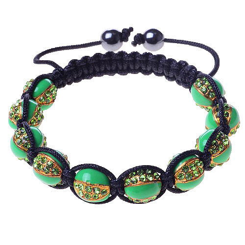 Green CZ Gold-Tone Black Cord Adjustable Macrame Bracelet