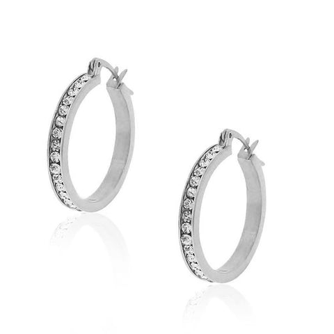 Stainless Steel Silver-Tone White Clear CZ Classic Round Hoops Earrings, 1.00