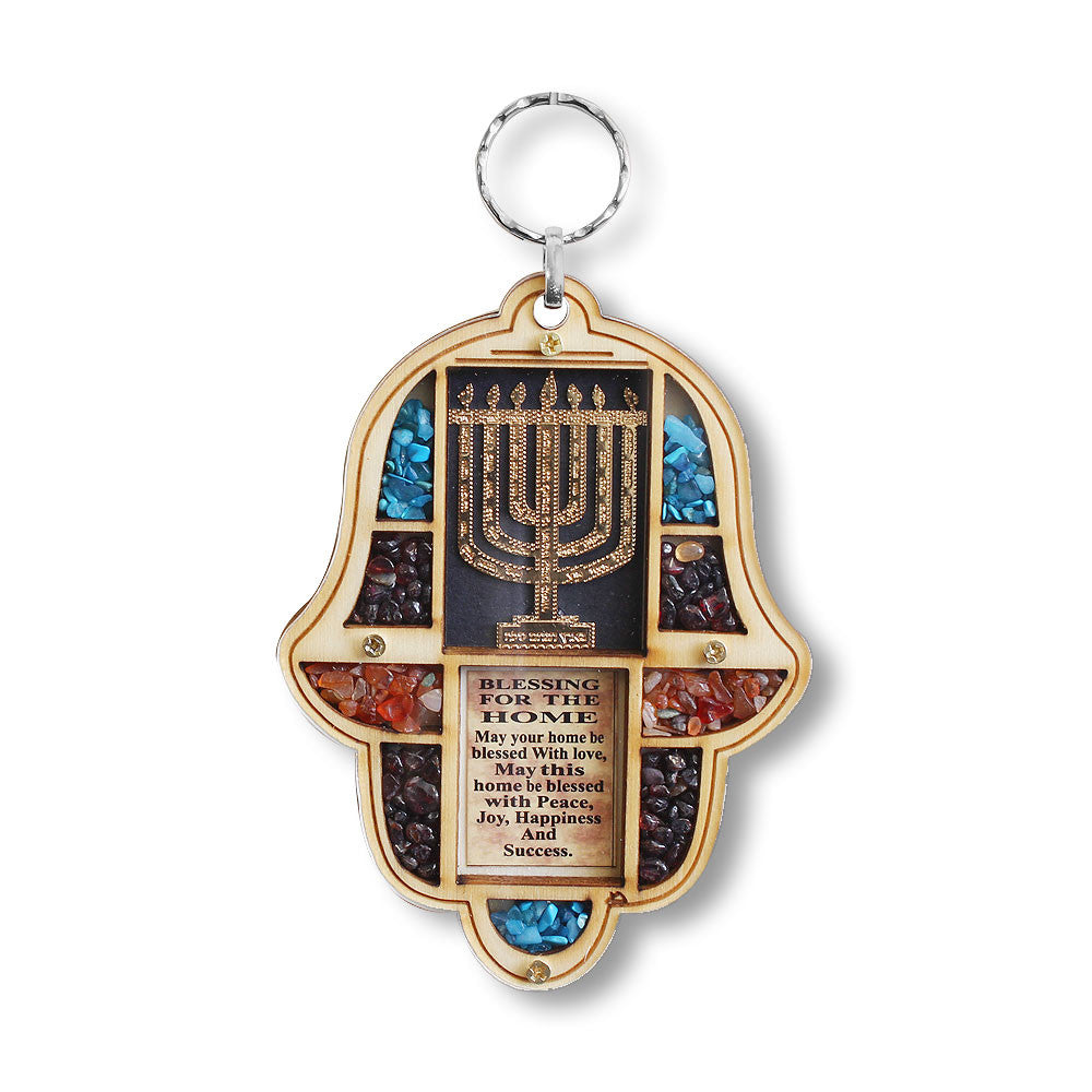 Jewish Wooden Hamsa Menorah Blessing for Home - Good Luck Wall Decor with Simulated Gemstones