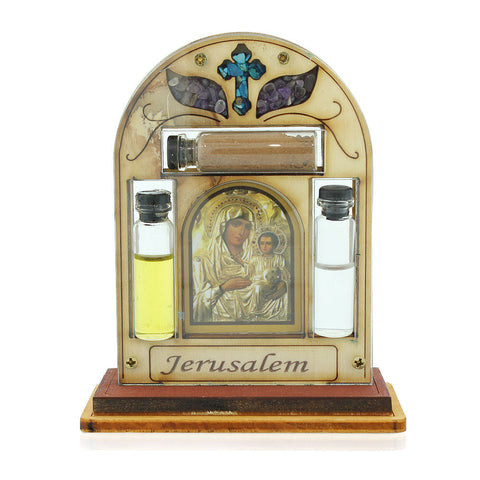 Christian Cross Icon Decor - Blessing for Home with Simulated Gemstones - Holy Water Oil and Soil Included