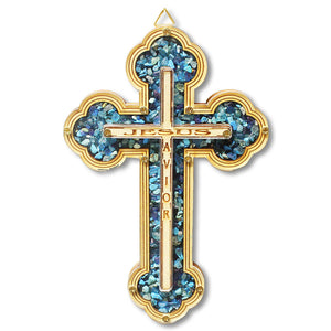 Wooden Christian Cross Jesus Savior Simulated Gemstones Turquoise Wall Decor - Made in Israel