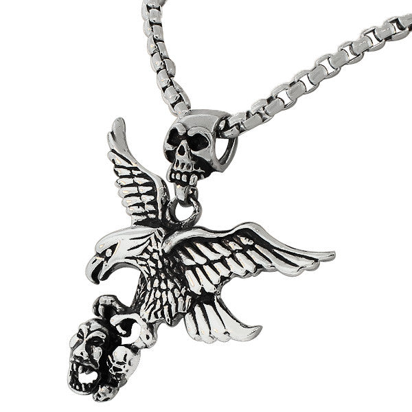 Stainless Steel Silver-Tone Large Mens Link Chain Eagle Scull Head Necklace Pendant
