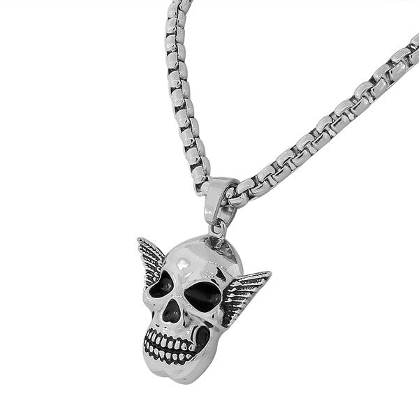 Stainless Steel Silver-Tone Large Mens Link Chain Scull Head Necklace Pendant