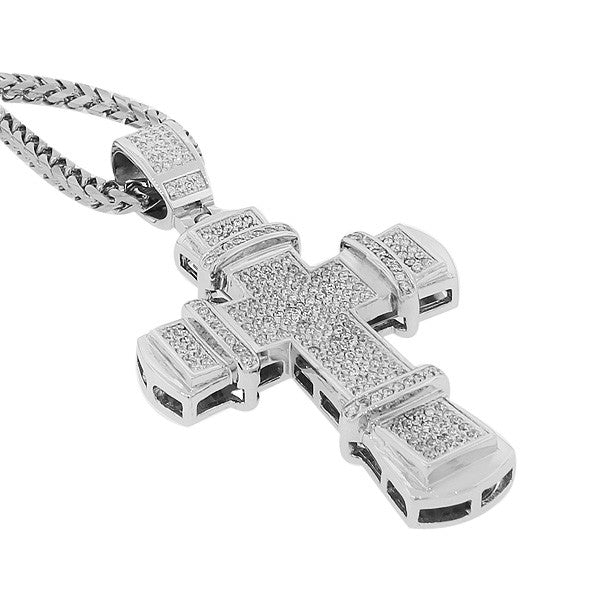 Stainless Steel White CZ Large Hip Hop Cross Mens Pendant with Chain