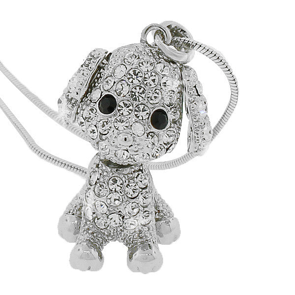 Silver-Tone White Multicolor CZ Puppy Dog Womens Girls Pendant Necklace with Chain