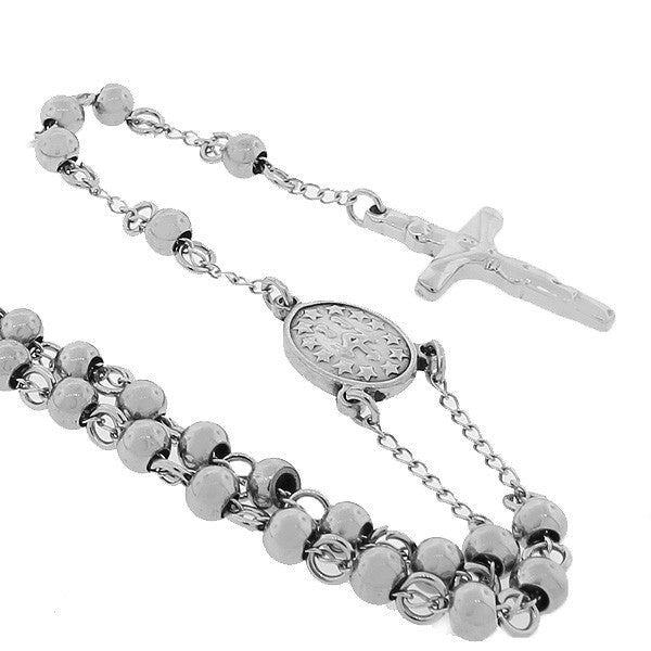 Silver Rosary Cross Beads