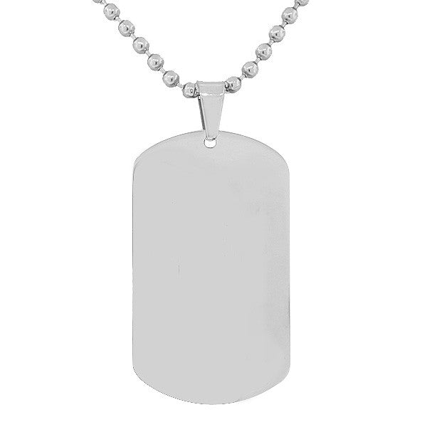 Steel Silver Dog Tag Necklace