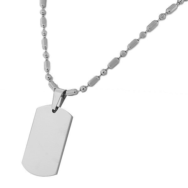 Stainless Steel Silver-Tone Dog Tag Necklace Pendant with Chain