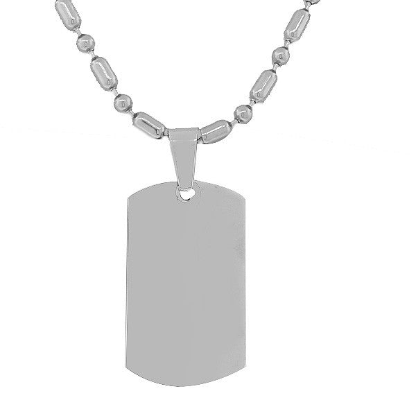 Steel Chrome Dog Tag Necklace