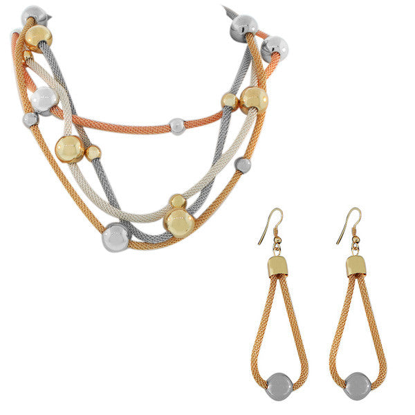 Stainless Steel Multi-Tone Gold-Tone Mesh Womens Earrings Necklace Set