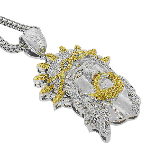925 Sterling Silver White Yellow CZ Large Jesus Head Hip Hop Mens Pendant Necklace with Chain