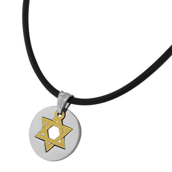 Stainless Steel Two-Tone Jewish Star David Mens Pendant Necklace Chain