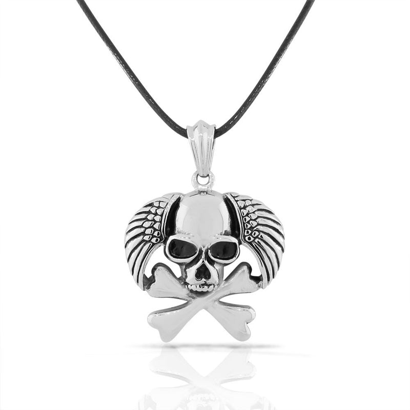 Stainless Steel Silver-tone Skull Wings Crossbones Mens Pendant Necklace