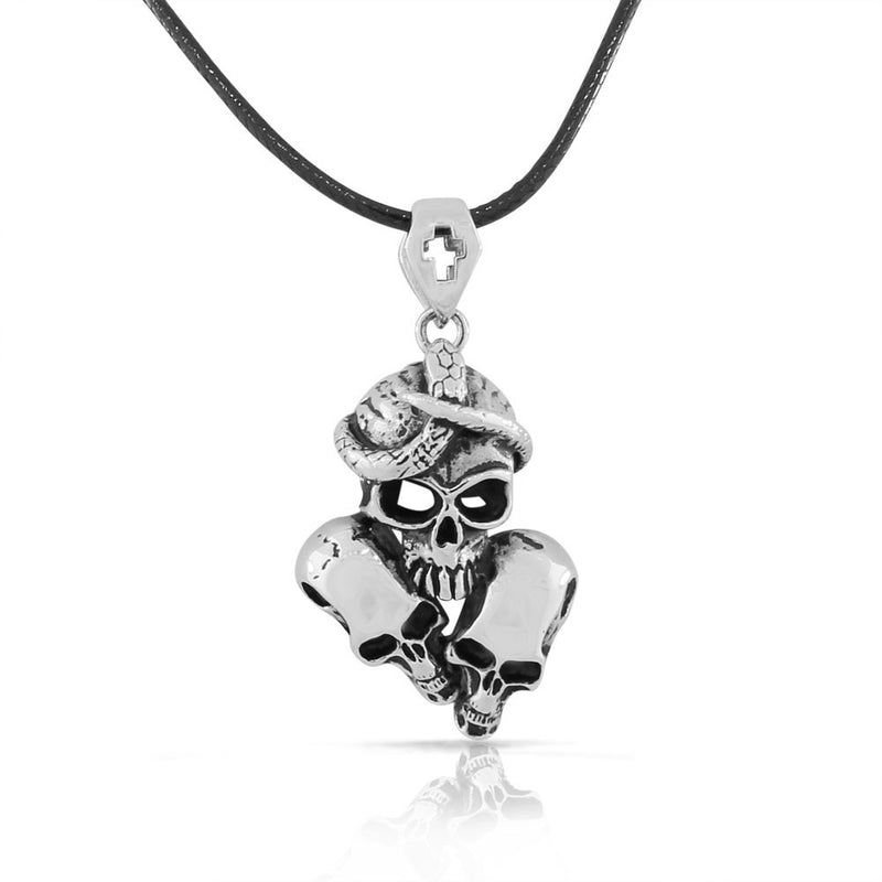 Stainless Steel Silver-tone Triple Skull Snake Mens Pendant Necklace