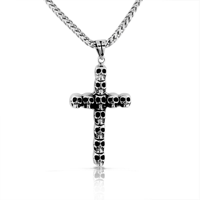 Stainless Steel Large Silver-tone Skull Cross Mens Pendant Necklace