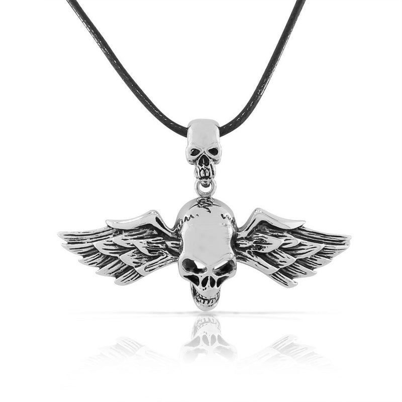 Stainless Steel Silver-tone Skull Wings Mens Pendant Necklace