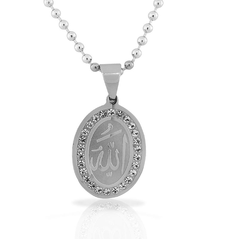 Stainless Steel Silver-Tone White CZ Muslim Islam God Allah Pendant Necklace