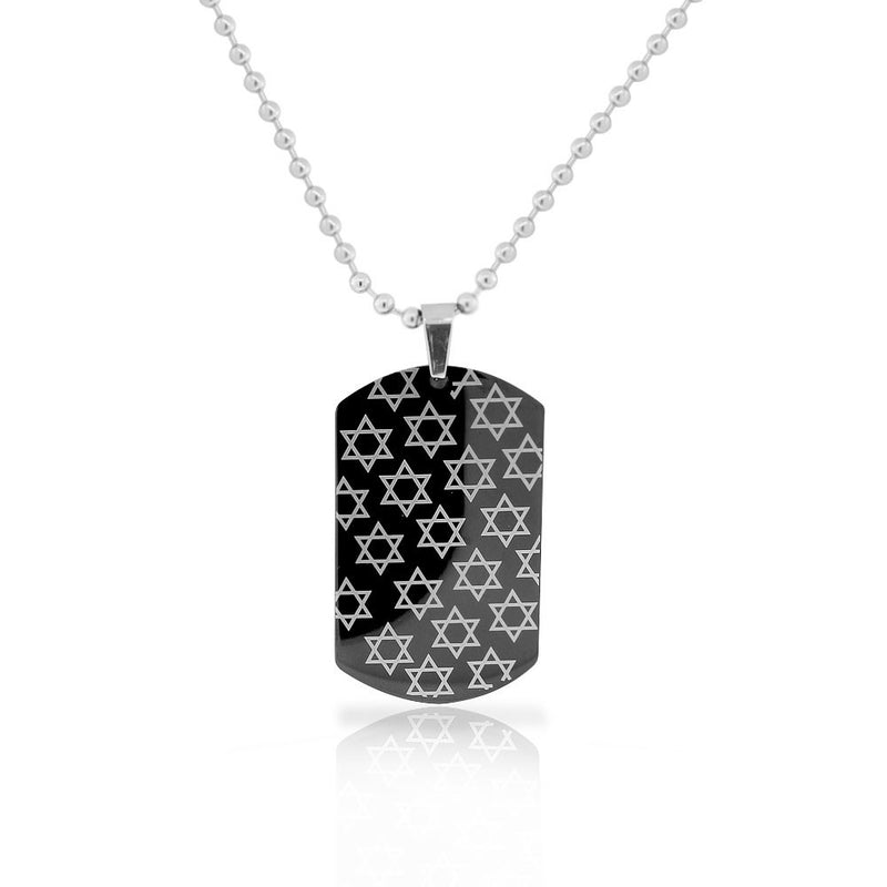EDFORCE Stainless Steel Black Coating Dog Tag Star of David Mens Pendant Necklace