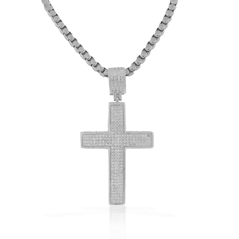Stainless Steel Silver-Tone White Clear CZ Hip-Hop Latin Cross Pendant Necklace