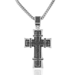 Stainless Steel Silver-Tone Black CZ Large Statement Hip-Hop Religious Cross Necklace, 36""