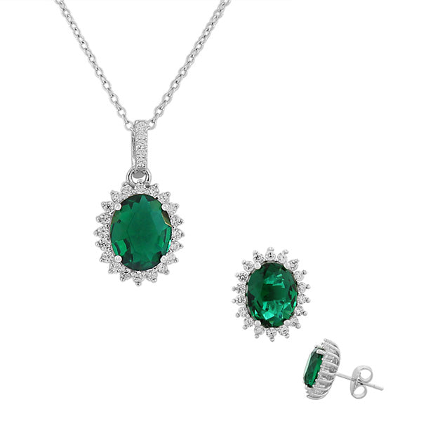 Green Emerald-Tone White CZ Oval Charm Necklace Stud Earrings Set