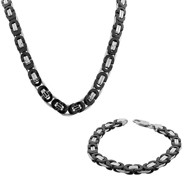 Stainless Steel Silver-Tone Black Mens Link Chain Necklace and Bracelet Set