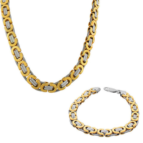 Stainless Steel Two-Tone Mens Link Chain Necklace and Bracelet Set