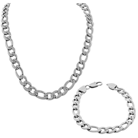 Stainless Steel Silver-Tone Mens Classic Link Chain Necklace and Bracelet Set