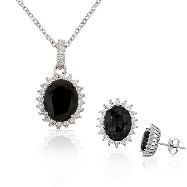 Black White CZ Oval Charm Womens Pendant Necklace Stud Earrings Set