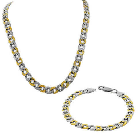 Stainless Steel Two-Tone Mens Classic Cuban Link Chain Necklace Bracelet Set