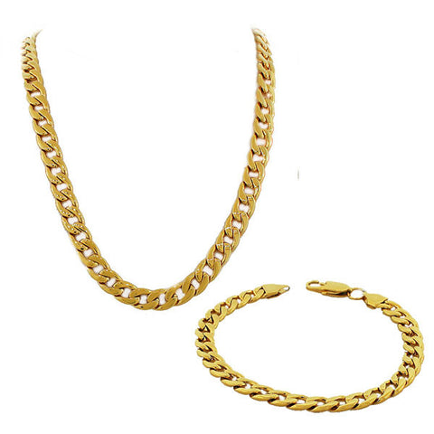 Stainless Steel Yellow Gold-Tone Mens Classic Cuban Link Chain Necklace Bracelet Set