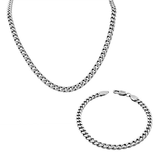 Stainless Steel Silver-Tone Mens Classic Cuban Link Chain Necklace Bracelet Set