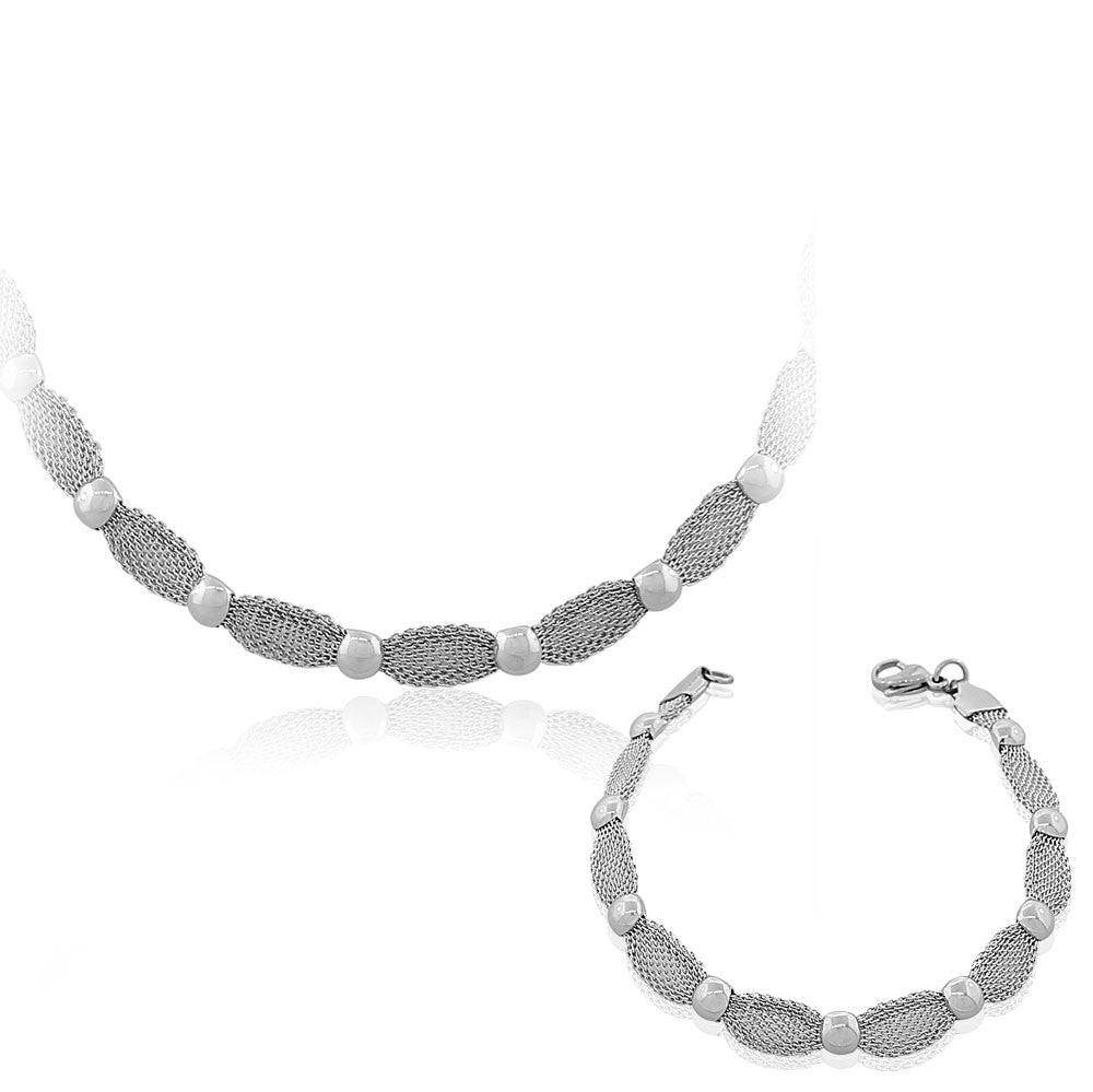EDFORCE Stainless Steel Silver-Tone Mesh Chain Womens Necklace Bracelet Set