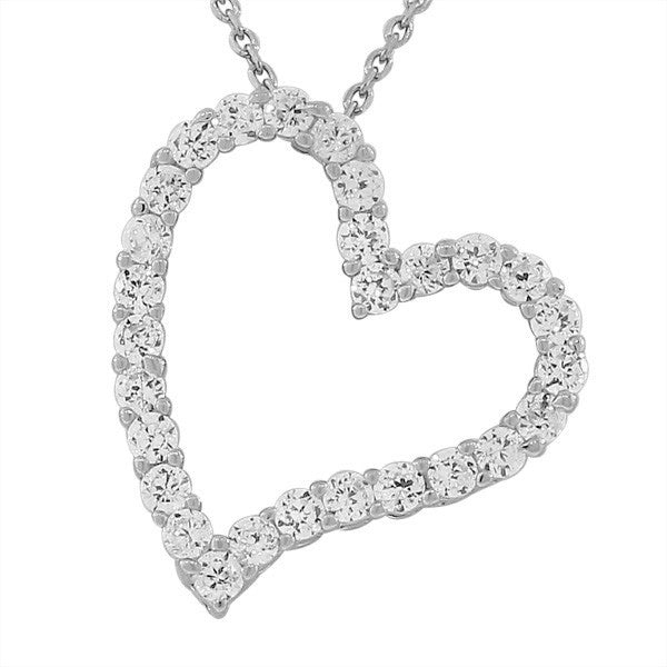 925 Sterling Silver Love Heart Charm White  CZ Pendant Necklace with Chain