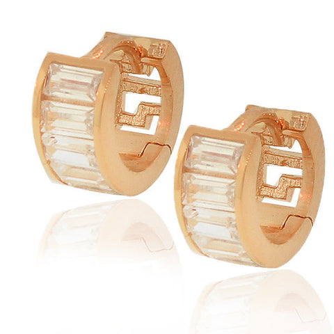 925 Sterling Silver Rose Gold-Tone White Baguette CZ Womens Hoop Huggie Earrings