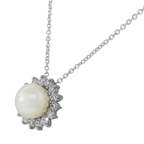 925 Sterling Silver Womens Solitaire Simulated Pearl White CZ Pendant Necklace