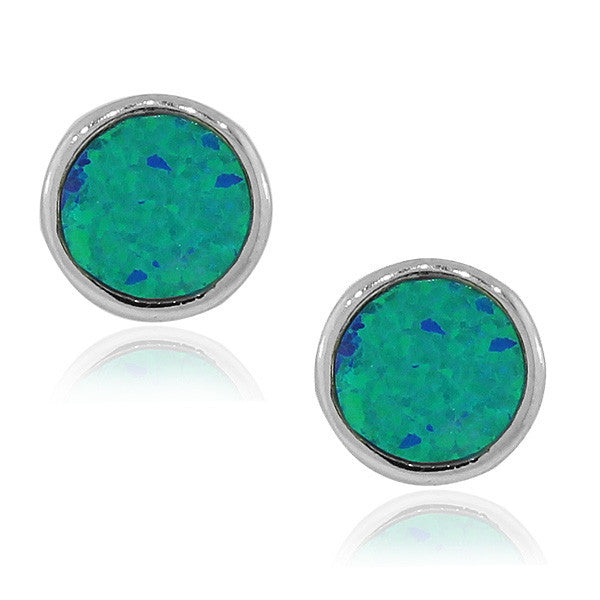 925 Sterling Silver Blue Turquoise-Tone Simulated Simulated Opal Round Stud Earrings