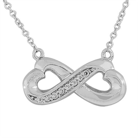 925 Sterling Silver Sideways Love Hearts Infinity White CZ Pendant Necklace