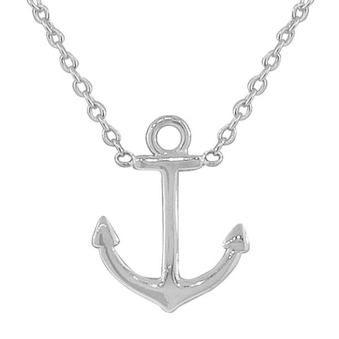 925 Sterling Silver Classic Polished Anchor Womens Pendant Necklace