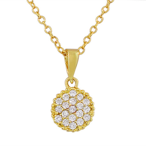 925 Sterling Silver Yellow Gold-Tone Round Charm White CZ Pendant Necklace