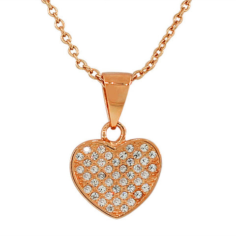 925 Sterling Silver Rose Gold-Tone Love Heart White CZ Pendant Necklace