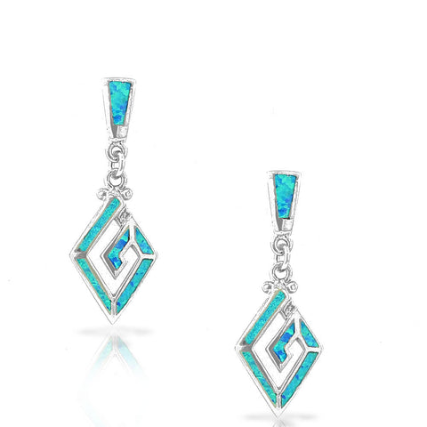 925 Sterling Silver Blue Turquoise-Tone Simulated Opal Whirlpool Drop Dangle Earrings