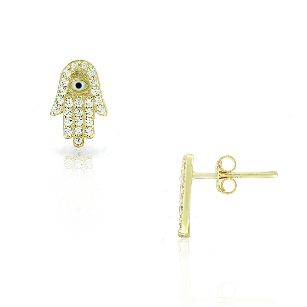 925 Sterling Silver Yellow Gold-Tone White CZ Evil Eye Hamsa Small Stud Earrings