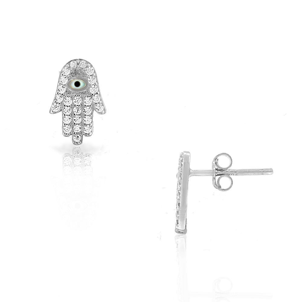 925 Sterling Silver White CZ Evil Eye Hamsa Good Luck Protection Small Stud Earrings