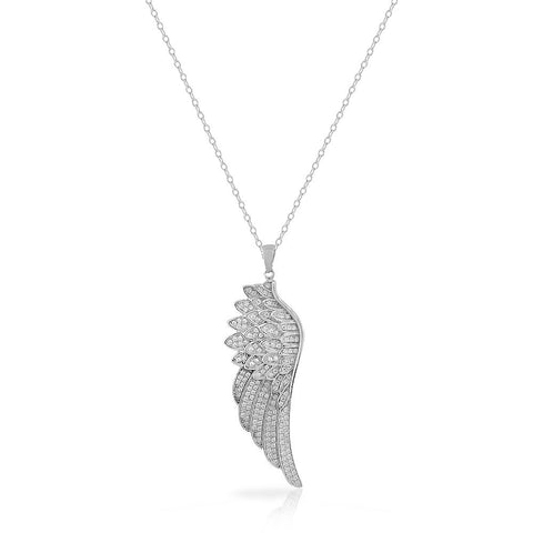 925 Sterling Silver White CZ Large Statement Single Angel Wing Pendant Necklace