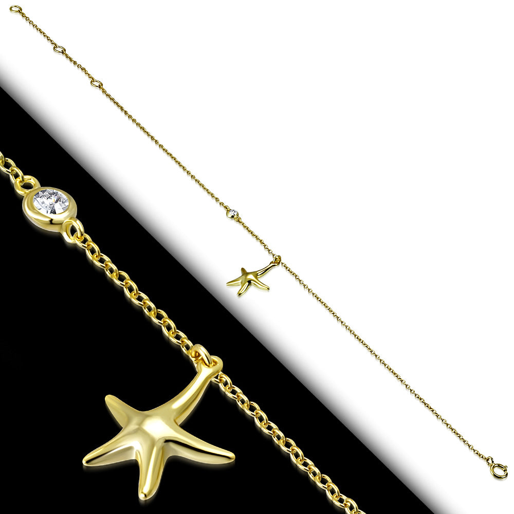 Yellow Gold-Tone Starfish Anklet