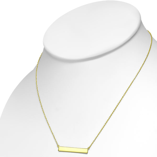 Simple Gold Bar Necklace Pendant Sterling Silver