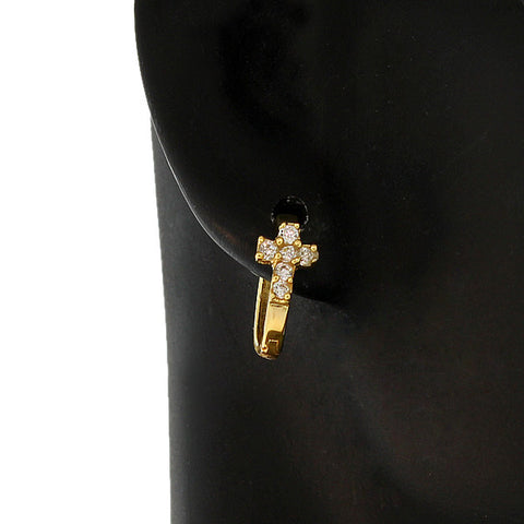 Tiny Gold Cross Huggies