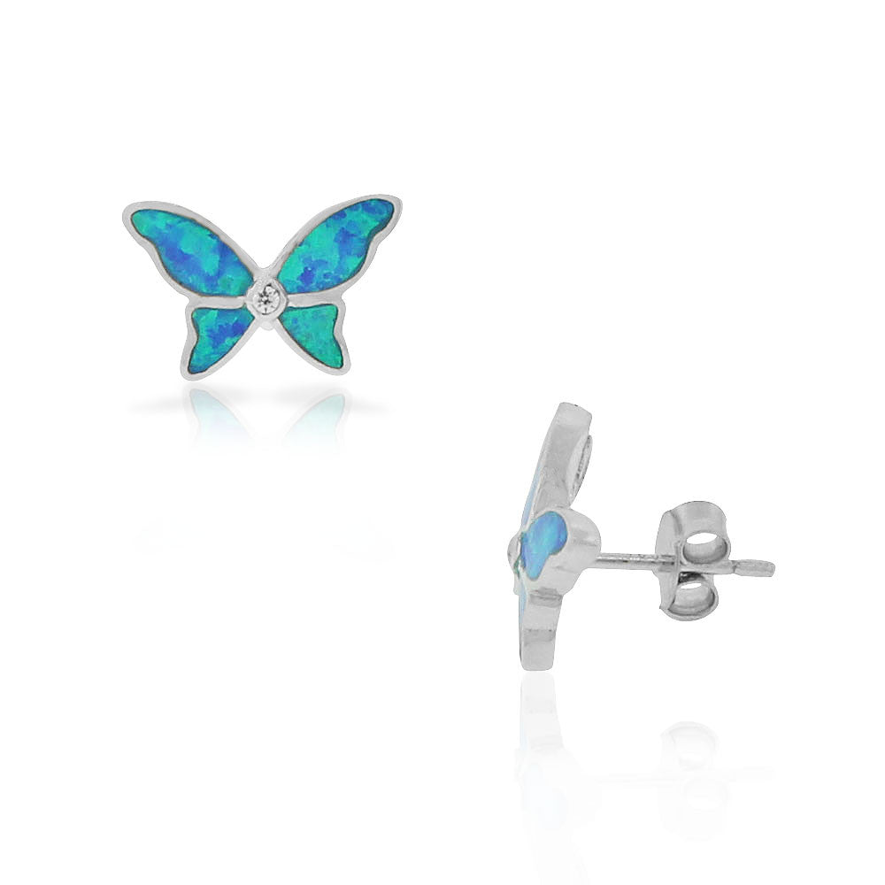 925 Sterling Silver Green Blue Simulated Opal CZ Butterfly Stud Earrings