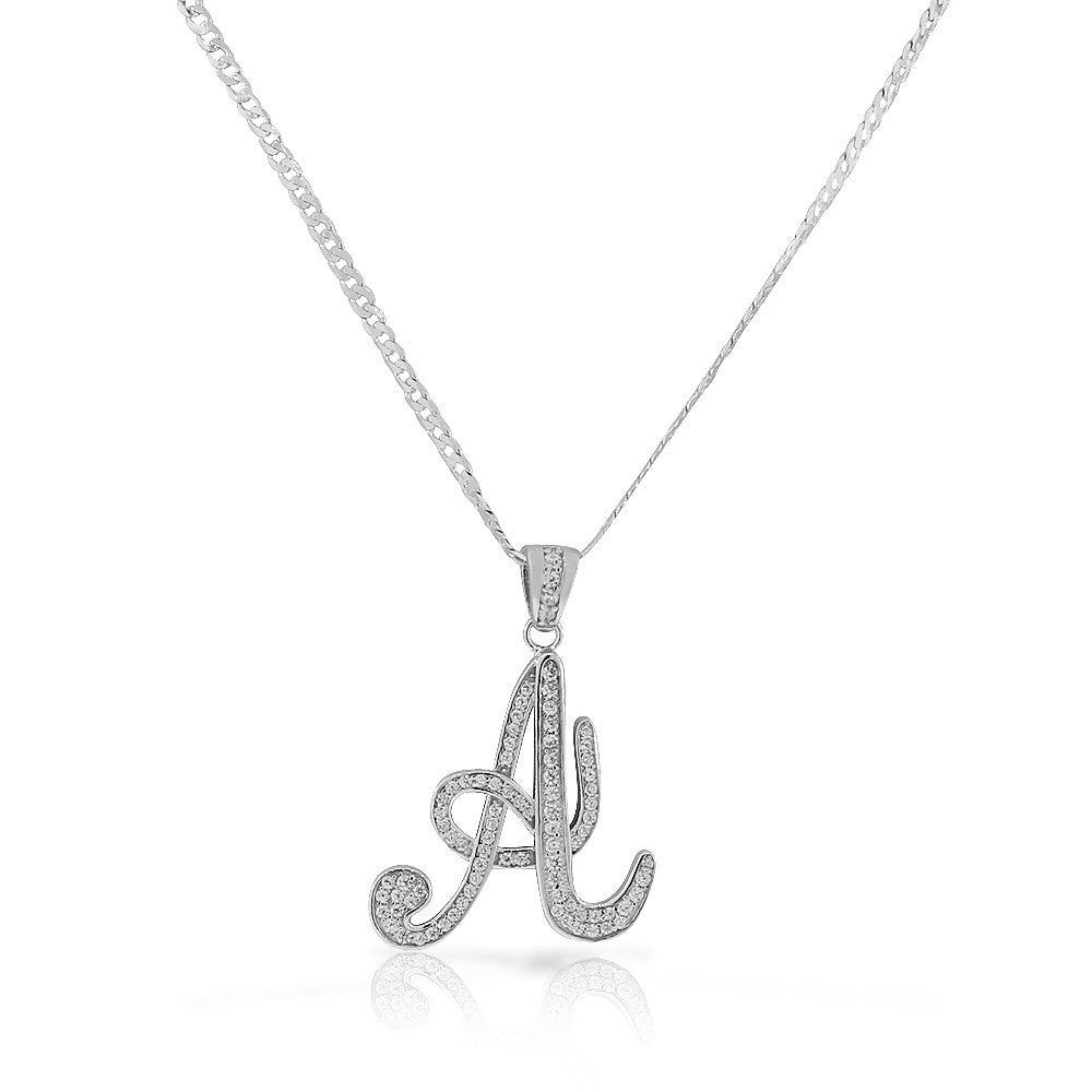 "925 Sterling Silver CZ Letter Initial ""A"" Pendant Necklace - A"